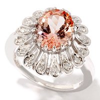 GI SS OVAL MORGANITE RING W/DIAMONDS