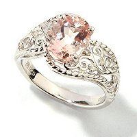 GI SS OVAL MORGANITE RING