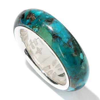 114-640 - Gem Insider Sterling Silver 25x25mm Campitos Turquoise Band Ring