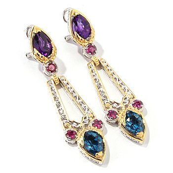 114-710 - Gems en Vogue II 7.68ctw Multi Gemstone Drop Earrings w/ Omega Backs