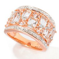 SS/PLAT RING MORGANITE & BAGUETTE-CUT AQUA W/ DIA ACCENT BAND