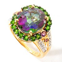 SS/18KV RING EXOTIC TOPAZ W/ EXOTIC GEM & DIAMOND ACCENT