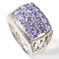 SS/P RING 3-ROW TANZANITE BAND