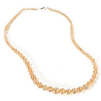 GT SS COATED CRYSTAL QUARTZ GRADUATED NECK W/MAGNETIC CLASP 24""