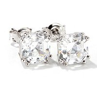 BLTA SS/PLAT ASSCHER CUT STUD EARRINGS