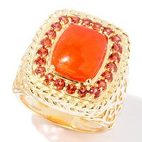 SS/18KYGP RING DYED RED JADE & GARNET