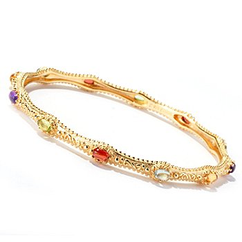 114-893 - Jaipur Bazaar Gold Embraced™ 8'' Multi Gem Cabochon Slip-on Bangle Bracelet