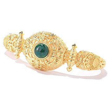 114-898 - Jaipur Bazaar Gold Embraced™ 7'' Opaque Emerald Cuff Bracelet