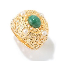 SS/18KYGP RING OPAQUE GEM W/ WHT CULTURED PEARL