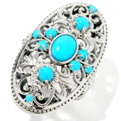 114-977 - Gem Insider Sterling Silver Sleeping Beauty Turquoise Elongated Ring