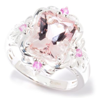 115-024 - Gem Insider Sterling Silver 2.41ctw Morganite & Pink Sapphire Ring