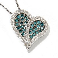 SS BLUE & WHITE DIAMOND HEART PENDANT W/CHAIN .50CTW