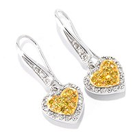 SS TT HEART DROP COLORED DIAMOND EARRINGS .35CTW