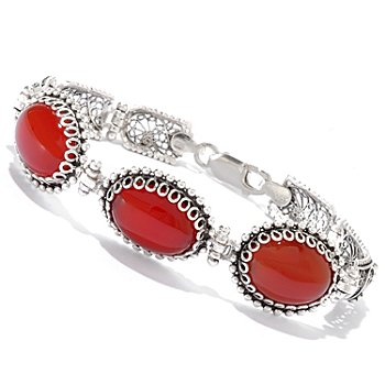 115-303 - Telkari Turkish Sterling Silver 16x12mm Oval Dyed Gemstone 7.5'' Bracelet