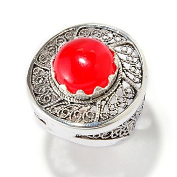 115-307 - Telkari Turkish Sterling Silver 4.50ctw Round Dyed Gemstone Filigree Ring