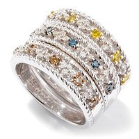 GT SS SET OF 3 DIAMOND STACK RINGS BLUE, YELLOW & MOCHA .50CTW