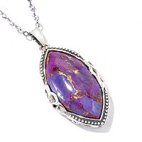 GI SS MARQUISE SHAPED PURPLE TURQUOISE PENDANT W/CHAIN