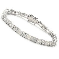 TYCOON SS/PLAT RECTANGULAR AND ROUND CUT TENNIS BRACELET
