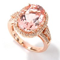 GT 14K RG OVAL MORGANITE AND DIAMOND RING 10X14