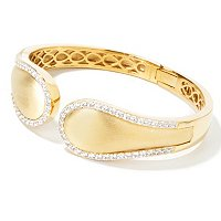 SS/18K GOLD EMBRACED BRUSHED HINGED CUFF BRACELET