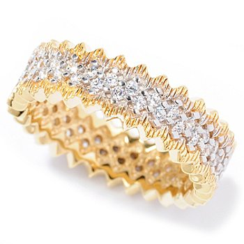 115-526 - Désoro™ Gold Embraced™ Brilliante® Textured Zig-Zag Edge Ring