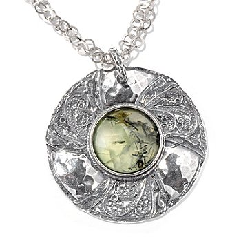 115-668 - Israeli Artisan Sterling Silver 20mm Green Rutilated Quartz Pendant w/Chain