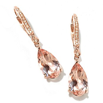 115-796 - Gem Treasures 14K Rose Gold 1.5'' 8.54ctw Teardrop Morganite & Diamond Earrings