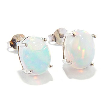 115-844 - Gem Insider Sterling Silver 9x7mm Oval Ethiopian Opal Stud Earrings