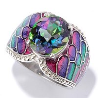 SS/P RING EXOTIC GEMSTONE W/ GRADATED ENAMEL