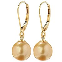 FEM 14K 9.5-10MM GOLDEN SOUTH SEA PEARL LEVERBACK EARRINGS