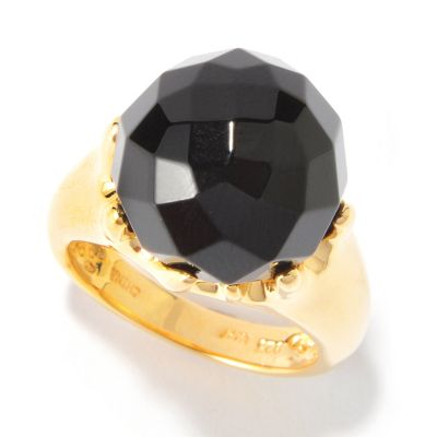 116-005 - Sterling Silver 14mm Vermeil Faceted Gemstone Ring