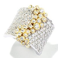 SB SS/TWO-TONE PAVE & BEZEL SET RING