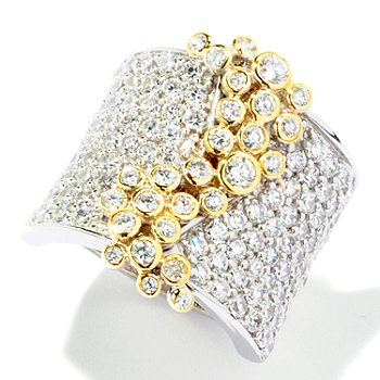116-033 - Sonia Bitton for Brilliante® 4.05 DEW Two-Tone Pave & Bezel Set ''Lunette'' Ring