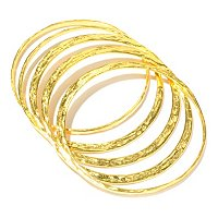 BRONZE/18KGP BRAC HAMMERED MULTI-SHAPE SLIP-ON BANGLES - SET OF 5