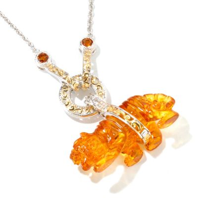 116-133 - Gems en Vogue II Carved Amber Tiger, Citrine & White Sapphire Pendant w/ Chain