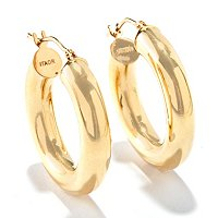 VIALE 18K ITALIAN GOLD POLISHED ROUND HOOP EARRING