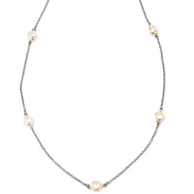 "116-286 - Belargo™ for Brilliante® 18"" Platinum & Gold Embraced Bezel Set Station Necklace"