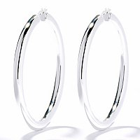 SEMPRESILVER[TM] - STERLING SILVER 5MM ELECTROFORM POLISHED HOOP EARRINGS