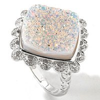 GI SS SQUARE OPAL DRUSY RING WITH DIAMONDS
