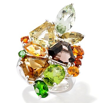 116-337 - Gem Insider Sterling Silver 9.04ctw Multi Gemstone Ring