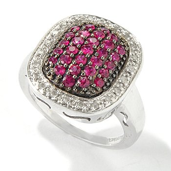116-377 - Gem Treasures Sterling Silver 1ctw Precious Gemstone & Diamond Pave Ring
