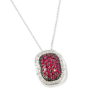 116-378 - Gem Treasures Sterling Silver 1ctw Precious Gemstone & Diamond Pave Pendant