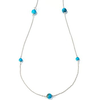116-410 - Gem Insider Sterling Silver Winter Ridge Turquoise 36'' Station Necklace