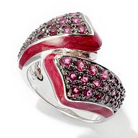 SS BYPASS RING WITH RED ENAMEL AND RHODOLITE