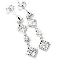 TYCOON SS/PLAT BEZEL SET SQUARE AND ROUND CUT DANGLE EARRINGS