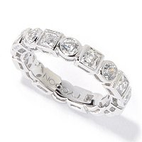 TYCOON SS/PLAT BEZEL SET SQUARE AND ROUND CUT ETERNITY BAND RING