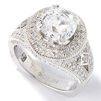 TYCOON SS/PLAT ROUND CUT HALO RING W/ BEZEL SET SQUARE SIDE STONES