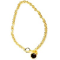 BRONZE/18KGP NECK CABLE LINK W/ GEM BRIOLETTE CHARM & TOGGLE CLASP - 18""