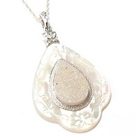 GI SS TEAR DROP PENDANT WITH MOP FRAME & SNOW OPAL COLOR DRUSY WITH CHAIN
