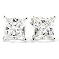BLTA SS/PLAT PRINCESS CUT STUD EARRINGS